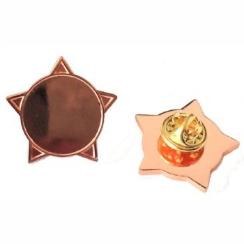 Superior Badge Blank star 18mm bronze clutch and clear dome